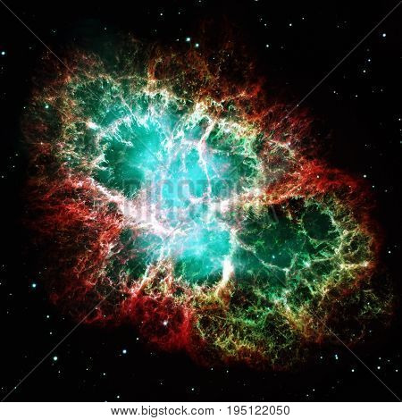 Crab Nebula is a six-light-year-wide remnant of a star's supernova explosion. A rapidly spinning neutron star, in the center bluish glow. Retouched image. Elements of this image furnished by NASA