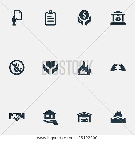 Vector Illustration Set Of Simple Fuse Icons. Elements Prohibited, Vehicle Assurance, Banking House And Other Synonyms Protection, Money And Saving.