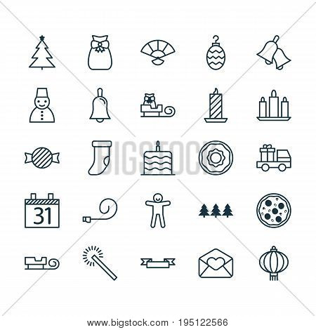 Christmas Icons Set. Collection Of Sled, Holiday Ornament, Celebrate Whistle And Other Elements. Also Includes Symbols Such As Blower, Jingle, Donuts.