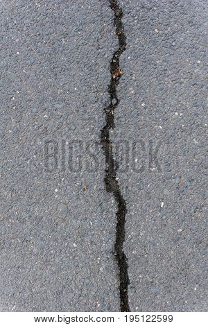 Close-up of a damaged Road. View on a Street with long Cracks. Broken Asphalt. Tarred Road.