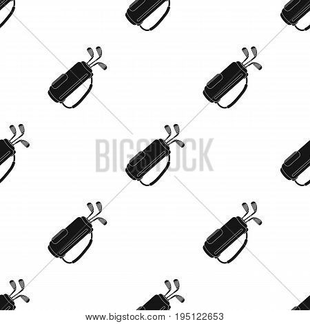 A bag with golf clubs.Golf club single icon in black style vector symbol stock illustration .