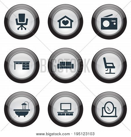 Vector Illustration Set Of Simple Furnishings Icons. Elements Dwelling, Davenport, Armchair And Other Synonyms Residential, Telly And Sofa.