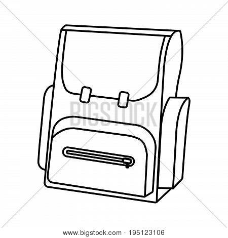 Outline Schoolbag Icon. Schools Supplies. Isolated Vector Illustration