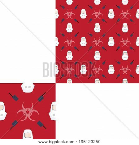 Seamless pattern of Rescue and fire with radio biohazard sign and white helmets on the red background with pattern unit.