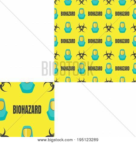 Seamless pattern of Rescue and fire with biohazard text and turquoise helmets on the yellow background with pattern unit.
