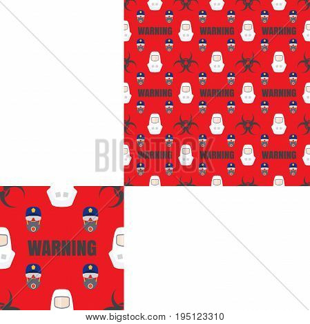 Seamless pattern of Rescue and fire with biohazard sign text respiratory mask glasses police cap and white helmets on the red background with pattern unit.