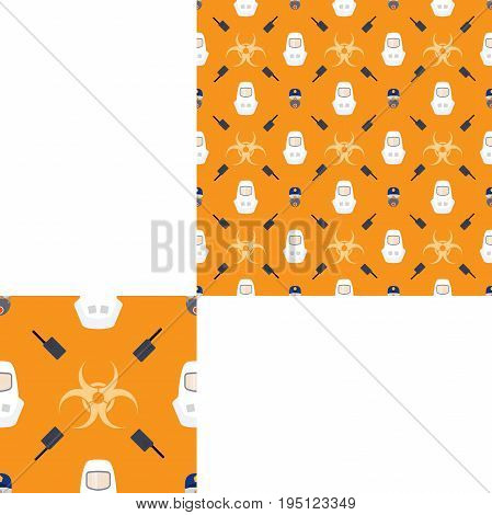 Seamless pattern of Rescue and fire with respiratory mask glasses police cap radio biohazard sign and white helmets on the yellow background with pattern unit.
