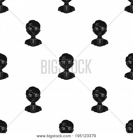 Russian.Human race single icon in black style vector symbol stock illustration .
