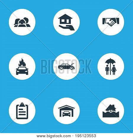 Vector Illustration Set Of Simple Insurance Icons. Elements Vehicle Assurance, Contract, Automobile Damage And Other Synonyms Handshake, Couple And Umbrella.