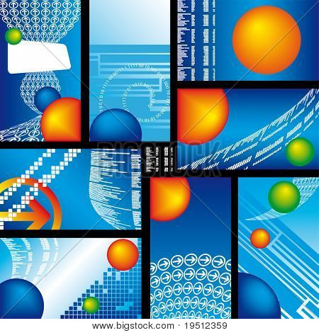 Collection of Business card Blue Summary tables (Version vector 16279615)