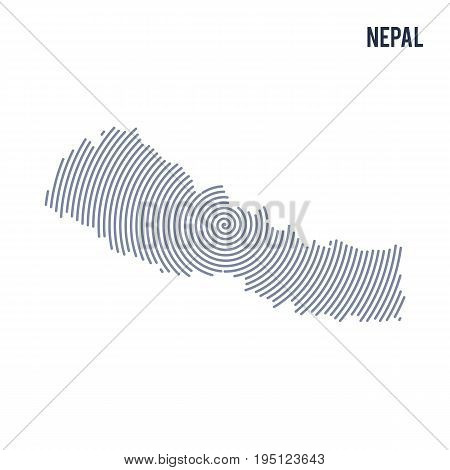 Vector Abstract Hatched Map Of Nepal With Spiral Lines Isolated On A White Background.