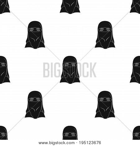 A woman from the Middle East.Human race single icon in black style vector symbol stock illustration .