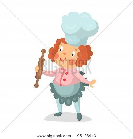 Cute cartoon little girl chef character with rolling pin vector Illustration isolated on a white background