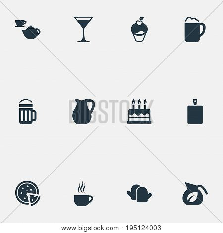 Vector Illustration Set Of Simple Gastronomy Icons. Elements Vase, Lager, Oven Gloves And Other Synonyms Cake, Cutting And Pot.