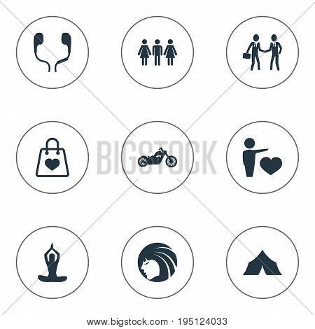 Vector Illustration Set Of Simple Yoga Icons. Elements Partners, Sale, Medicine And Other Synonyms Test, Road And Motorcycle.