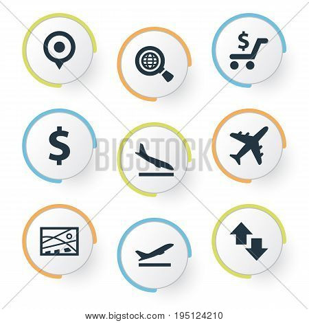 Vector Illustration Set Of Simple Transportation Icons. Elements Economy, Exporation, City Plan And Other Synonyms Trolley, Location And Navigation.