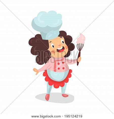 Cute cartoon little girl chef character holding whisk with pink cream vector Illustration isolated on a white background