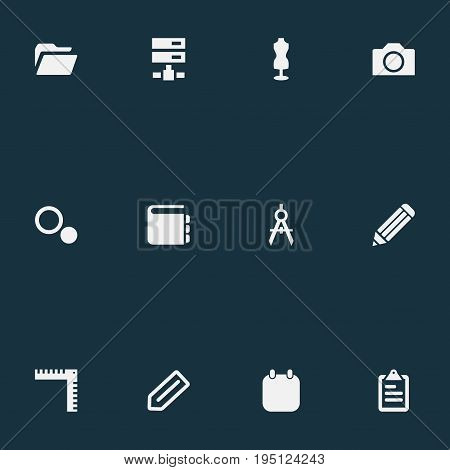 Vector Illustration Set Of Simple Design Icons. Elements List, Pen, Photography And Other Synonyms Tailor, Schema And Mannequin.