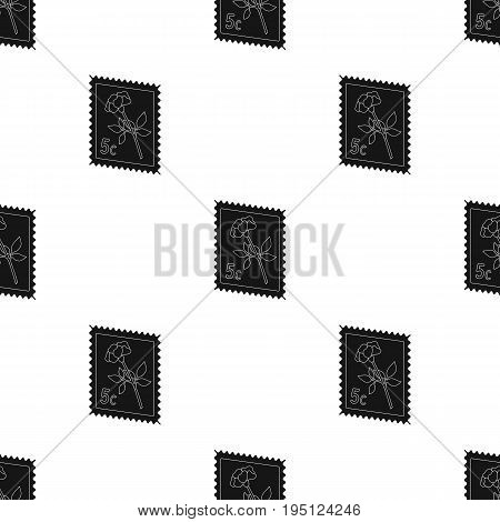 Postage Stamp.Mail and postman single icon in black style vector symbol stock illustration .
