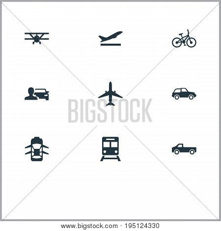 Vector Illustration Set Of Simple Transportation Icons. Elements Jeep, Metro, Bike And Other Synonyms Driver, Mini And Airline.
