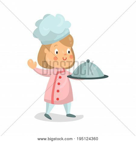 Cute cartoon little girl chef character holding cloche platter vector Illustration isolated on a white background