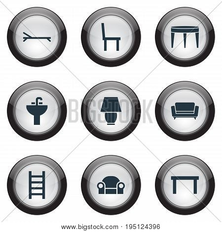 Vector Illustration Set Of Simple Furnishings Icons. Elements Table, Chair, Stairway And Other Synonyms Board, Service And Water.