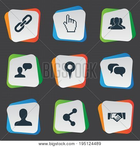 Vector Illustration Set Of Simple Social Icons. Elements Point, Chain, Agreement And Other Synonyms Pointer, Messaging And Pin.