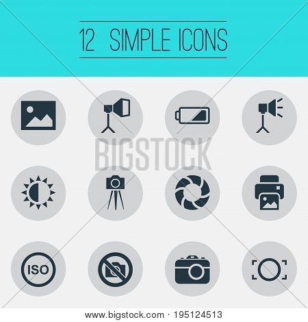Vector Illustration Set Of Simple Photograph Icons. Elements Photograph, Flame Instrument, Luminous Origin And Other Synonyms Lens, Brightness And Photographing.