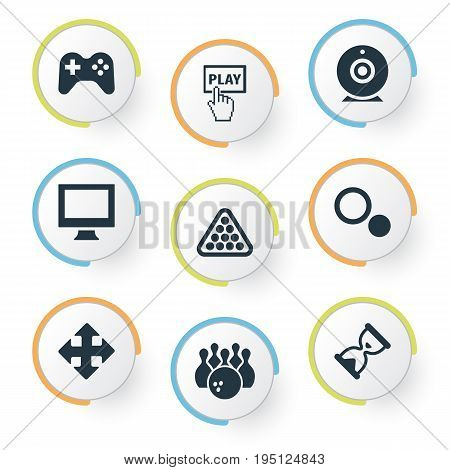 Vector Illustration Set Of Simple Game Icons. Elements Kegling, Circles, Balls And Other Synonyms Video, Display And Cue.