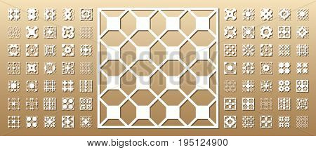 Die cut card. Laser cut 70 vector panels. Cutout silhouette with geometric pattern. A picture suitable for printing, engraving, laser cutting paper, wood, metal, stencil manufacturing.