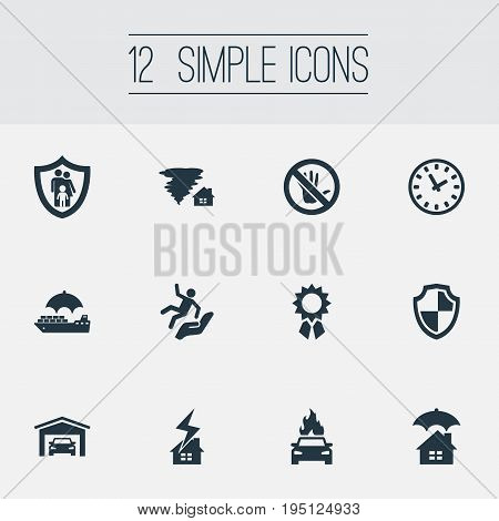 Vector Illustration Set Of Simple Warrant Icons. Elements Prohibited, Advocacy, Family Insurance And Other Synonyms Round, Hurricane And Office.