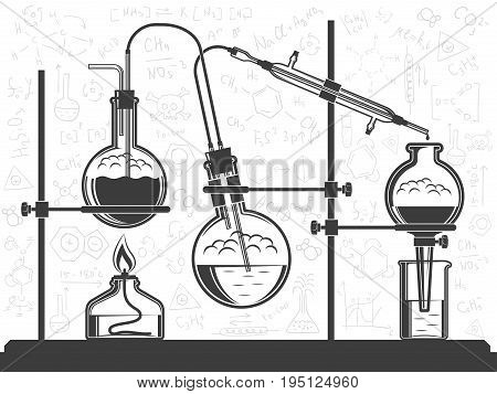 Composition of flasks hoses chemical elements and spirit lamp - a scientific experiment in the laboratory. Vector black and white illustration. Possible reconfiguration.