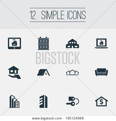 Vector Illustration Set Of Simple Property Icons. Elements High-Rise, Capital, Online Property And Other Synonyms Possession, Business And Hut.