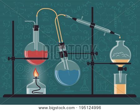 Combined structure of chemical instruments and flasks in the scientific laboratory. Vector color illustration. Possible reconfiguration.