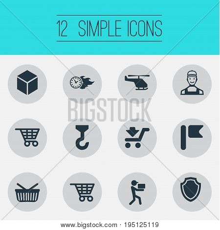Vector Illustration Set Of Simple Systematization Icons. Elements Workman, Shopping Trolley, Hook And Other Synonyms Crane, Hoisting And Box.