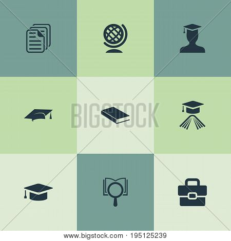 Vector Illustration Set Of Simple School Icons. Elements Undergraduate, Pedagogue, Hat And Other Synonyms Globe, Undergraduate And Teacher.