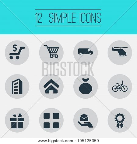 Vector Illustration Set Of Simple Delivery Icons. Elements Truck, Holdall, Velocipede And Other Synonyms Velocipede, Apartment And Hand.