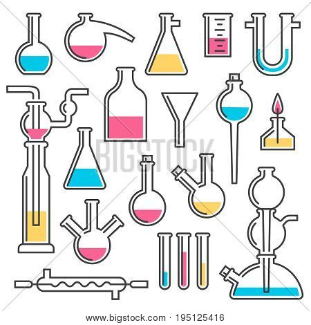 Set of chemical flasks made in styles Line icons. Vector color illustration.