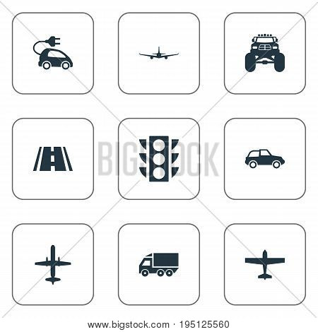 Vector Illustration Set Of Simple Shipment Icons. Elements Hybrid Auto, Road, Motor Lorry And Other Synonyms Plane, Electric And Hybrid.