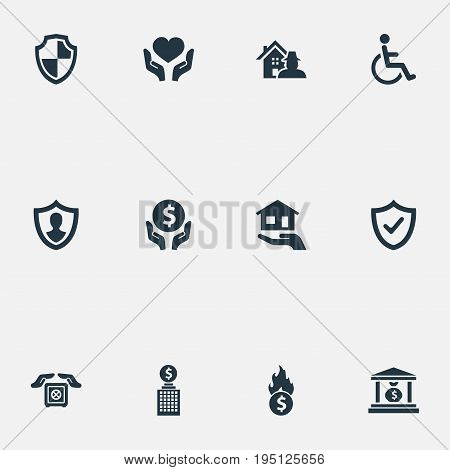 Vector Illustration Set Of Simple Insurance Icons. Elements Investment, Estate, Heart In Hand Synonyms Virus, Protect And Thief.