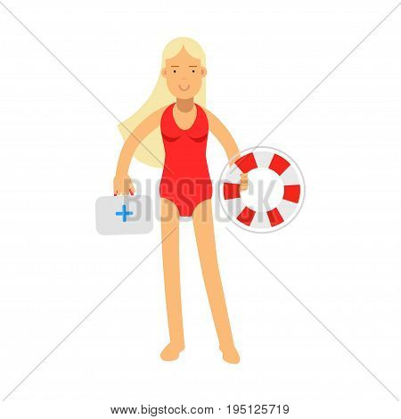 Lifeguard girl character in a red swimsuit holding lifebuoy and first aid kit vector Illustration isolated on a white background