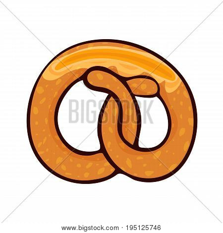 Isolated vector illustration of delicious pretzel with slice of butter for poster, menus, brochure, web and icon fastfood. Cartoon style with outline on white background