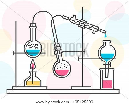 Process of chemical reaction in the scientific laboratory consisting of flasks and hoses. Vector color illustration in a line style. Possible reconfiguration.