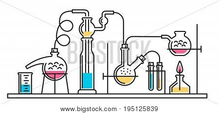 A composition of chemical flasks and hoses in a scientific laboratory. Vector color illustration in a line style. Possible reconfiguration.