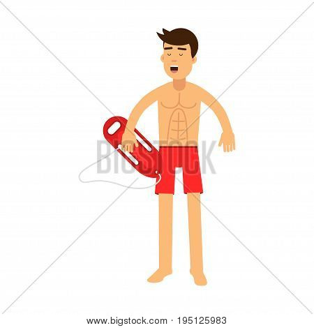 Lifeguard man character on duty standing with life preserver buoy vector Illustration isolated on a white background