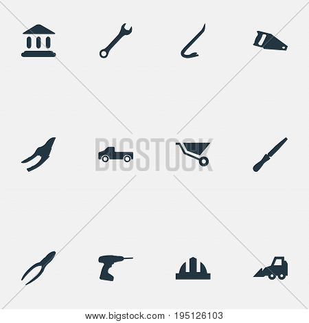 Vector Illustration Set Of Simple Architecture Icons. Elements Excavator, Cart, Helmet And Other Synonyms Screwdriver, Trolley And Tool.