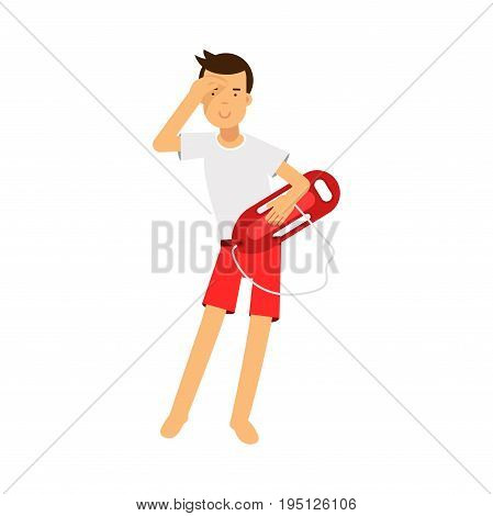 Lifeguard man character on duty standing with life preserver buoy and looking into the distance vector Illustration isolated on a white background