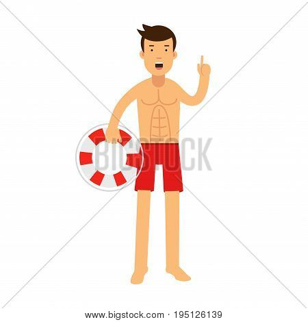 Lifeguard man character on duty standing with lifebuoy and raising his inger up warningly vector Illustration isolated on a white background