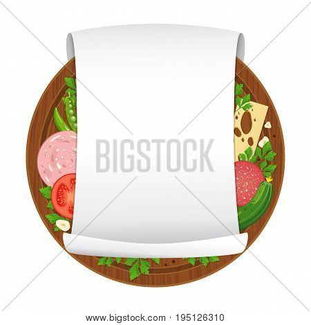 Vector illustration. Wooden cutting board with sausage cheese vegetables spices and empty curled blank paper sheet isolated on white background. Parchment scroll. Banner template. Cartoon style