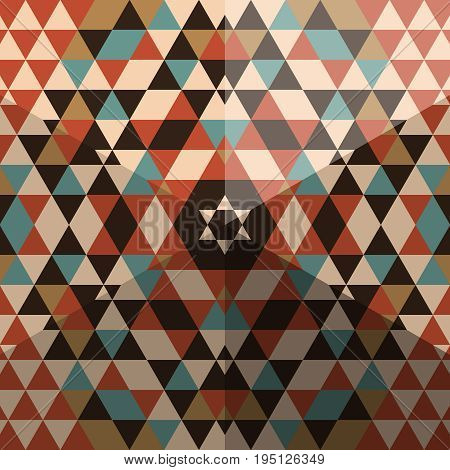 Original seamless pattern of multi-colored triangles with the effect of a 3D pyramid. Vector illustration.